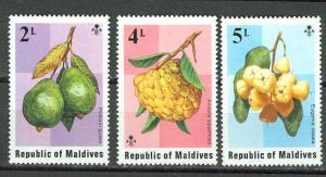 Maldives # 548-50  Fruits  (3) Mint NH