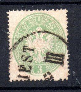 Austria 1863 3k Coat of Arms Perf 14 good used Cat Val £100 WS21746