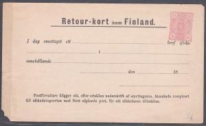 FINLAND early 10p Return Card - RETOUR-KORT fine unused....................53817