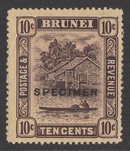BRUNEI : 1908 View 10c SPECIMEN, wmk Mult crown.