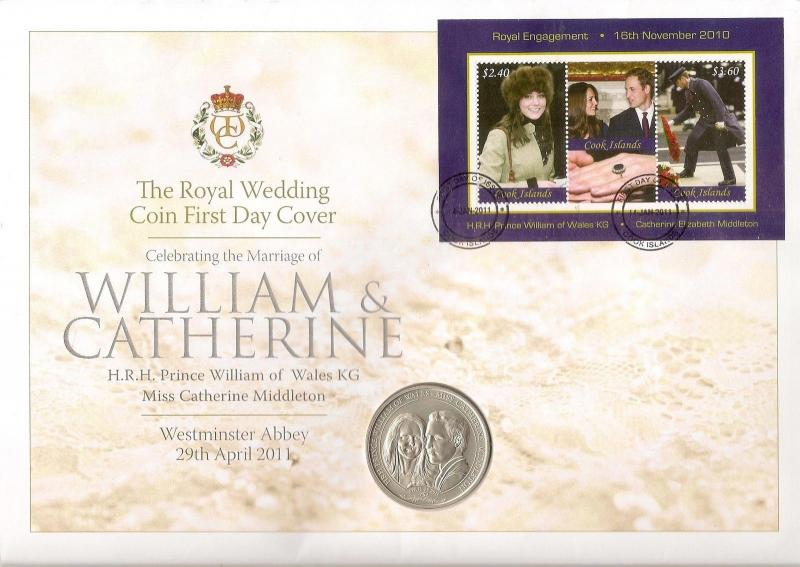 Cook Islands 2011 William & Catherine - $1 Coin Coin Cover