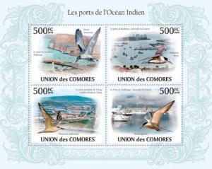 COMORES 2010 SHEET PORTS INDIAN OCEAN WATER BIRDS OISEAUX cm10111a