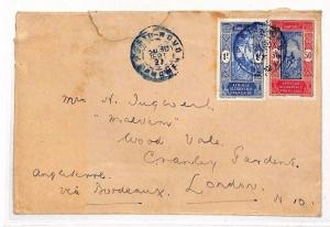 HH56 1927 FRANCE Colonies DAHOMEY *Porto-Novo* Cover London via Bordeaux
