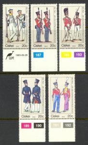 SOUTH AFRICA CISKEI 1983 MILITARY UNIFORMS Set Scott No. 63a-63e MNH