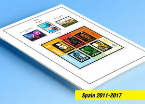 COLOR PRINTED SPAIN 2011-2017 STAMP ALBUM PAGES (110 illustrated pages)