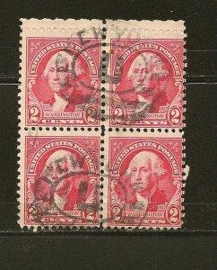 USA 707 Washington Block of 4 Used