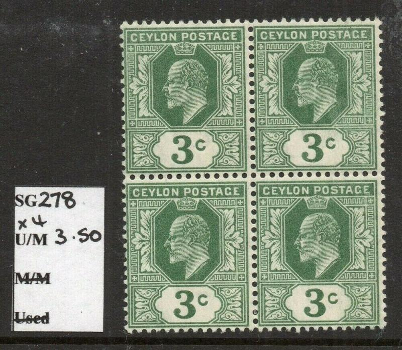 Ceylon 1904 Early Issue Fine Mint MNH unmounted 3c. Block 303215