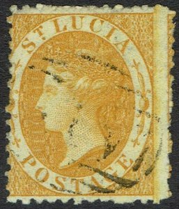 ST LUCIA 1864 QV (4D) WMK CROWN CC REVERSED  PERF 12.5 USED