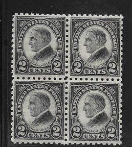 US# 612 2c Harding, black,Block of 4 (MNH)  CV  $130.00