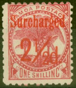 Samoa 1898 2 1/2d on 1s Dull Rose-Carmine SG85 Fine Mtd Mint (8)