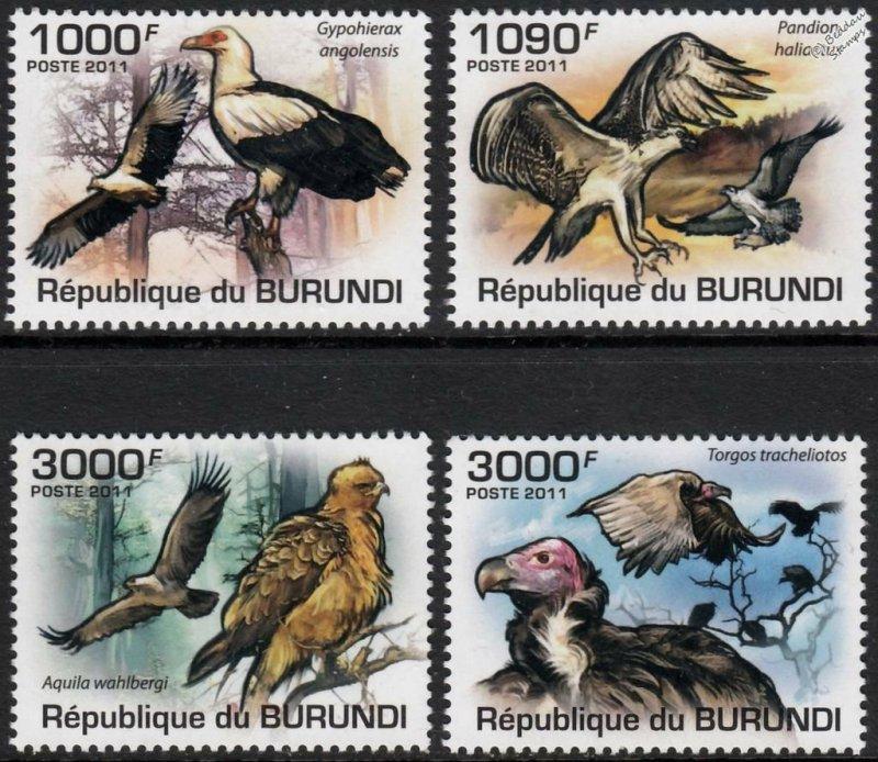 Burundi MNH 862-5 Birds Of Prey Fauna 2011 SCV 12.00