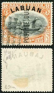 LABUAN SGD6ba Post Due 1901 8c ERROR FRAME INVERTED an Exceptional Example