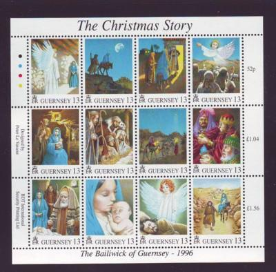 Guernsey Sc 583 1996 Christmas stamp sheet mint NH