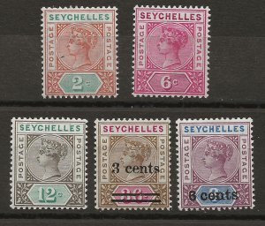 Seychelles 5 DIFF MLH VF 1890-1901 SCV $19.60 (jr)