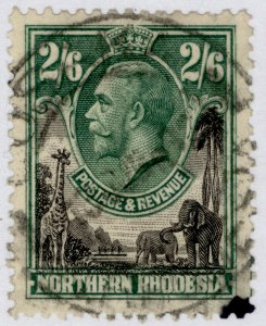 NORTHERN RHODESIA GV SG12, 2s 6d black & green, USED. Cat £15.