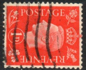 1938 Sg 463a 1d Scarlet Sideways Watermark Good Used