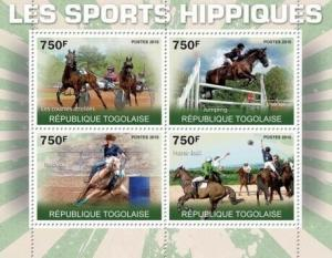 Togo - Equine Sports - 4 Stamp  Sheet 20H-198