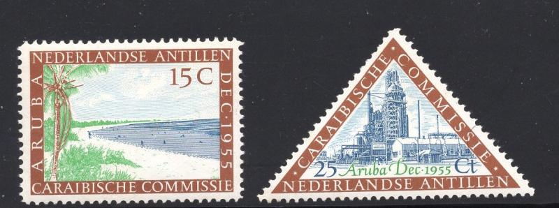 Netherlands Antilles   #233-234  MNH 1955  Caribbean commission. refinery  beach