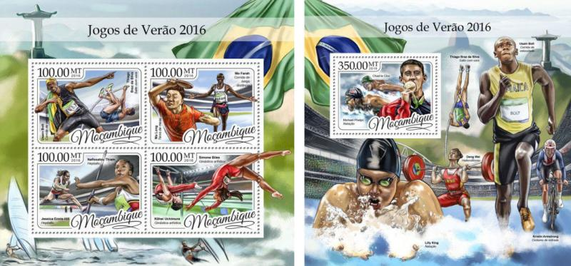 Mozambique Rio 2016 Olympic Games Olympics Bolt Phelps MNH stamps set