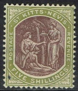 ST KITTS - NEVIS 1905 MEDICINAL SPRINGS 5/- WMK MULTI CROWN CA