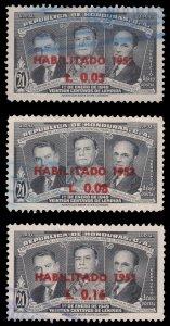 HONDURAS 1953 AIRMAIL STAMP. SCOTT: C206 - C208. USED.