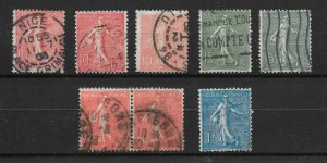 France - 1903 -1924,  Sower  - Lines in background  Stamps x 8, Used