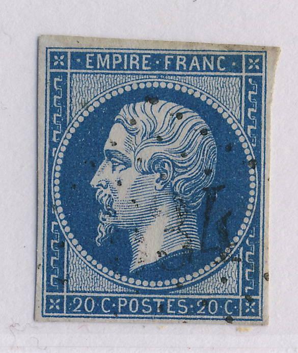 FRANCE - NAPOLÉON N.D. - 1862/3+ n°14 20c T.2 OBL. GC 534 DE BORT (CORRÈZE) - TB