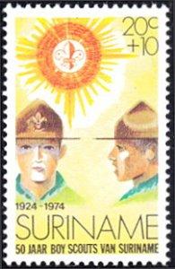 Surinam # B210 mnh ~ 20¢ + 10¢ Boy Scouts and Emblem