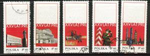 Poland Scott 1665-69 used 1968 embossed CTO stamps