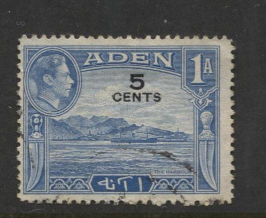ADEN - Scott 36 - Overprint - 1951- Used - Single 5c on a 1a Stamp