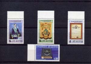 St. Kitts 1985 MASONIC LODGE ANNIVERSARY set (4) Perforated mINT (nh)