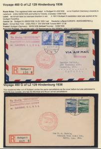 LZ129 HINDENBURG (2) DIFFERENT FLIGHT COVERS GERMANY TO CANADA HV9216