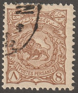 Persian stamp, Scott#93, used, hinged, 8ch, brown, #ed-189