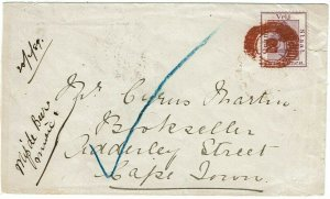 Orange Free State 1889 Winburg numeral 2 in red on cover to the Cape Colony
