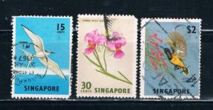 Singapore  65;68;76 Used Birds and Flowers (S0291)