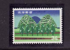Ryukyu Islands-Sc#108-unused NH-Trees & Wooded Hills-1963-