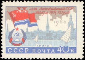 Russia #2352-2354, Complete Set(3), 1960, Flags, Never Hinged