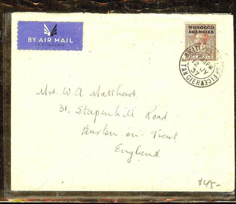 MOROCCO AGENCIES (P1206B) 1937KGV6D A/M TANGIER  TO ENGLAND