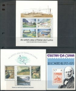 TRISTAN DA CUNHA: 3 MNH S/Ss - Art, Stamps on Stamps, Penguin, Rowland Hill