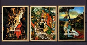 COOK IS - 1973 - EASTER - PAINTINGS - TITIAN - RUBENS - DURER -3X  MNH S/SHEETS!