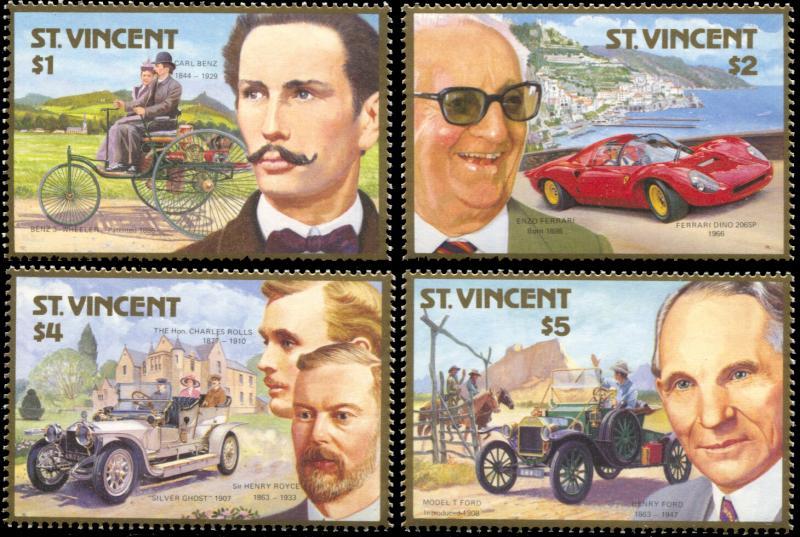 St.Vincent MNH 1044-7 Automobile Centenary 1987 SCV 6.25