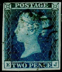 SG15, 2d deep full blue, FINE USED. Cat £550+. 4 MARGINS. EJ