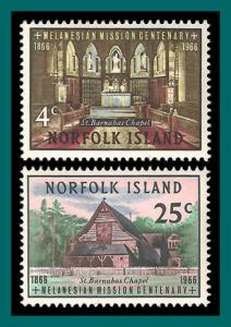 Norfolk Island 1966 Melanesian Mission, MNH  97-98,SG74-SG75