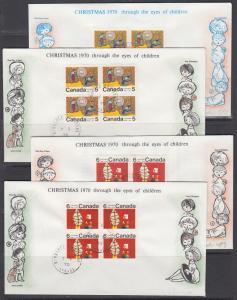 Canada Uni 522i/525ii FDCs. 1970 Christmas Center Blocks on individual FDCs