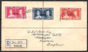 NIUE 1937 KGVI CORONATION Set Sc 70-72 on Registered FDC