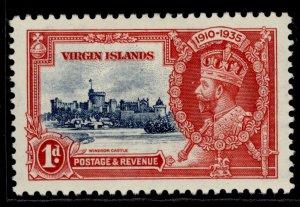 BRITISH VIRGIN ISLANDS GV SG103, 1d deep blue & scarlet, M MINT.
