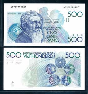 [98925] Belgium ND 1982-1998 500 Francs Sign Bertholomé-Verplaetse XF-aUNC P143a