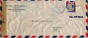 S Domingo Dominican Republic > Marlin Fireman New Haven CT 1944 censored airmail