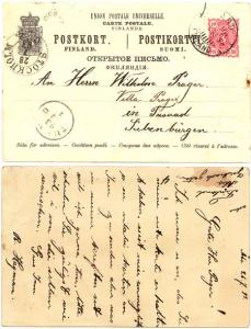 Finland to Sweden - 1893 Postal Stationary Card ABO