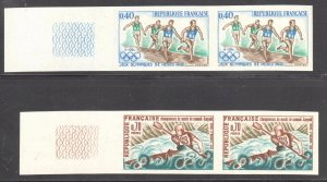 FRANCE YVERT #1573, 1609 Olympic Sports -- IMPERF PAIRS , CV 384€   -- XF NH